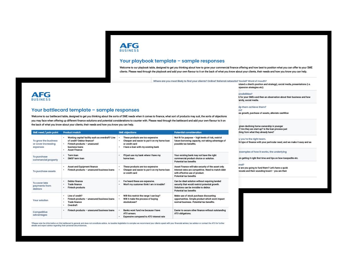 AFG Business Battlecard playbook